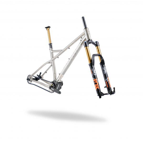 Enduro hardtail titanium mtb, with pinion gearbox.